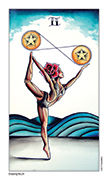 Two of Pentacles Tarot card in Eight Coins' Tattoo Tarot deck