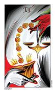 Six of Pentacles Tarot card in Eight Coins' Tattoo Tarot deck
