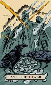 The Falling Tower Tarot Card - English Magic Tarot Deck