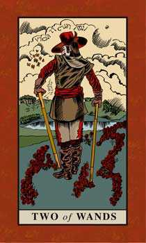 Two of Staves Tarot Card - English Magic Tarot Deck