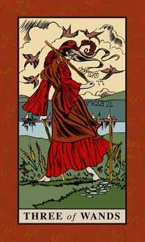 Three of Batons Tarot Card - English Magic Tarot Deck