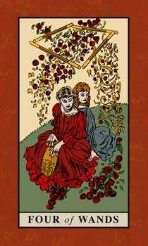 Four of Sceptres Tarot Card - English Magic Tarot Deck