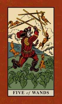 Five of Rods Tarot Card - English Magic Tarot Deck