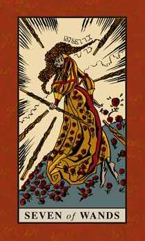 Seven of Rods Tarot Card - English Magic Tarot Deck