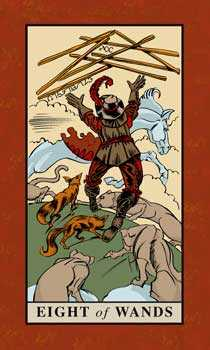 Eight of Rods Tarot Card - English Magic Tarot Deck