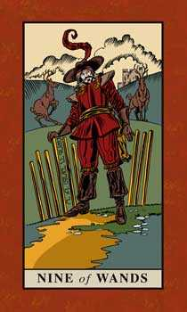 Nine of Staves Tarot Card - English Magic Tarot Deck