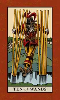 Ten of Staves Tarot Card - English Magic Tarot Deck