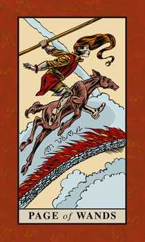 Valet of Batons Tarot Card - English Magic Tarot Deck