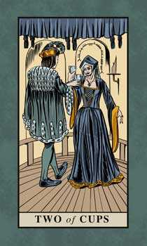 Two of Cups Tarot Card - English Magic Tarot Deck
