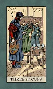 Three of Cauldrons Tarot Card - English Magic Tarot Deck