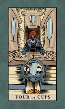 Four of Cups Tarot Card - English Magic Tarot Deck