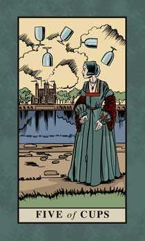 Five of Hearts Tarot Card - English Magic Tarot Deck