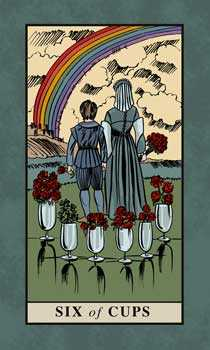 Six of Bowls Tarot Card - English Magic Tarot Deck