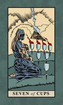 Seven of Cups Tarot Card - English Magic Tarot Deck