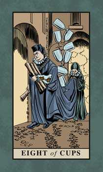 Eight of Cauldrons Tarot Card - English Magic Tarot Deck