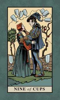 Nine of Bowls Tarot Card - English Magic Tarot Deck
