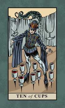 Ten of Cauldrons Tarot Card - English Magic Tarot Deck