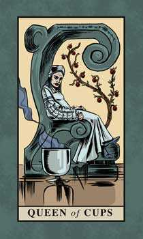 Queen of Bowls Tarot Card - English Magic Tarot Deck