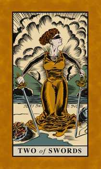 Two of Wind Tarot Card - English Magic Tarot Deck