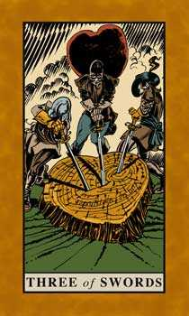 Three of Bats Tarot Card - English Magic Tarot Deck