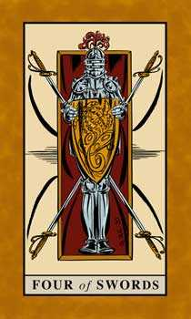 Four of Arrows Tarot Card - English Magic Tarot Deck