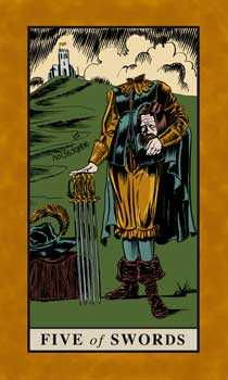 Five of Spades Tarot Card - English Magic Tarot Deck