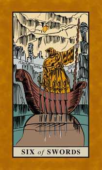 Six of Arrows Tarot Card - English Magic Tarot Deck