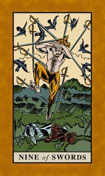 Nine of Bats Tarot Card - English Magic Tarot Deck