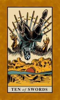 Ten of Arrows Tarot Card - English Magic Tarot Deck