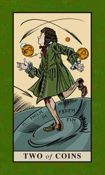 Two of Coins Tarot Card - English Magic Tarot Deck