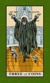 Three of Discs Tarot Card - English Magic Tarot Deck