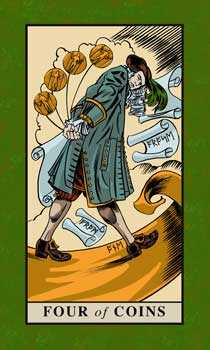 Four of Coins Tarot Card - English Magic Tarot Deck
