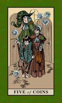 Five of Pentacles Tarot Card - English Magic Tarot Deck