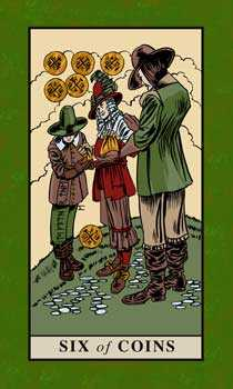 Six of Pentacles Tarot Card - English Magic Tarot Deck