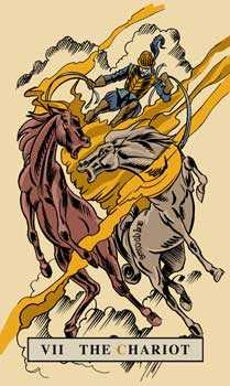 The Chariot Tarot Card - English Magic Tarot Deck