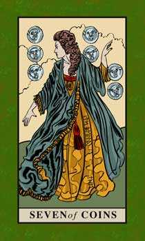 Seven of Coins Tarot Card - English Magic Tarot Deck