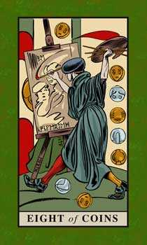 Eight of Coins Tarot Card - English Magic Tarot Deck