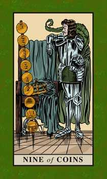 Nine of Coins Tarot Card - English Magic Tarot Deck