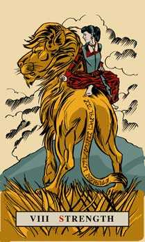 Strength Tarot Card - English Magic Tarot Deck