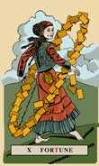 Wheel of Fortune Tarot card in English Magic Tarot deck