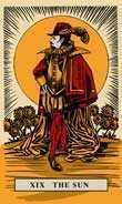 The Sun Tarot card in English Magic Tarot deck