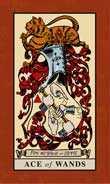 Ace of Wands Tarot card in English Magic Tarot deck