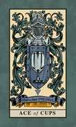 Ace of Cups Tarot card in English Magic Tarot deck