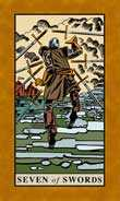 Seven of Swords Tarot card in English Magic Tarot deck
