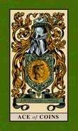 Ace of Coins Tarot card in English Magic Tarot deck