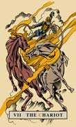 The Chariot Tarot card in English Magic Tarot deck