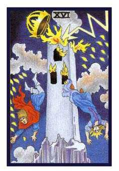 The Blasted Tower Tarot Card - Epicurean Tarot Recipe Cards Tarot Deck