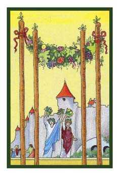 Four of Wands Tarot Card - Epicurean Tarot Recipe Cards Tarot Deck