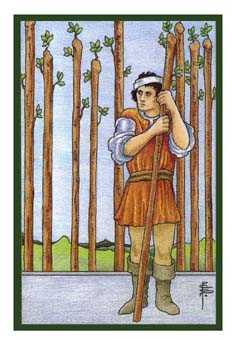 Nine of Staves Tarot Card - Epicurean Tarot Recipe Cards Tarot Deck