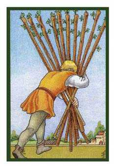 Ten of Rods Tarot Card - Epicurean Tarot Recipe Cards Tarot Deck